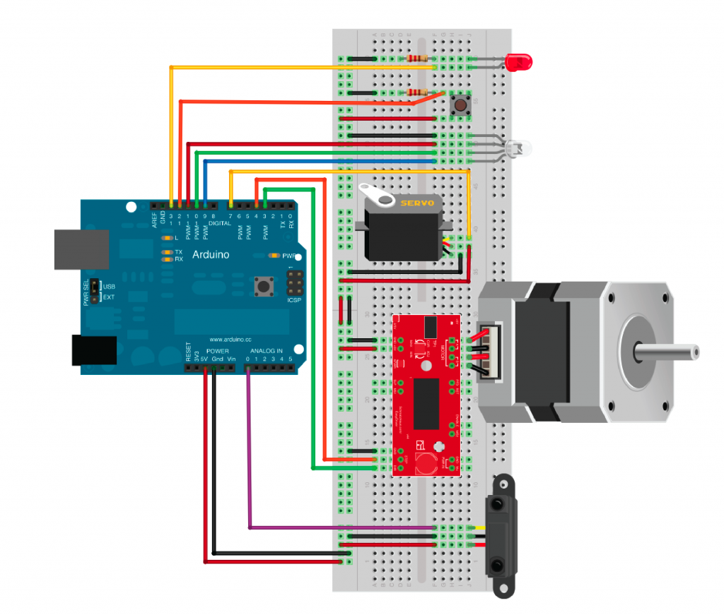 Image of wired sensors and Arduino
